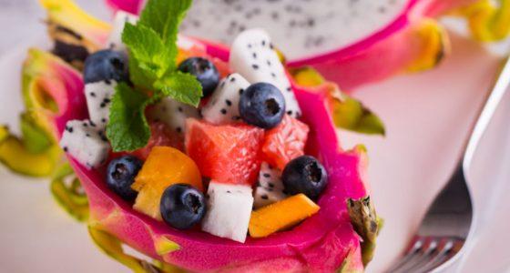 Efterratt Exotisk Fruktsallad Drakfrukt Passion
