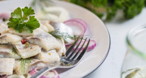 Plate,Of,Herring,With,Oil,And,Onion,,Greek,Style,Food.